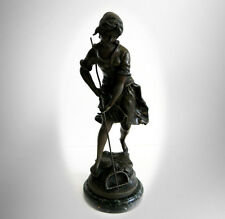 Auguste Moreau bronze statue of young peasant girl - France - FREE SHIPPING