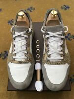 Gucci Mens Trainers Grey White Snakeskin Suede Fabric Shoes UK 8.5 US 9.5 42.5