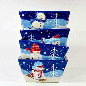"""St. Nicholas Square LET IT SNOW 32oz Soup Cereal 6"""" Bowl Set 4Pc Snowman Family"""