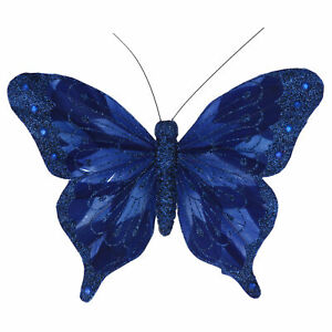 Gisela Graham Blue Feather Clip on Butterfly Christmas Tree Decoration 18cm