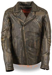 Men's Distressed Brown Leather Beltless Biker Jacket w/ Triple Stitch Details
