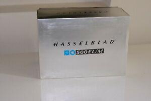 Hasselblad 500 EL-M + scatola + pozzetto + magazzino A24 + vetrino messa a fuoco