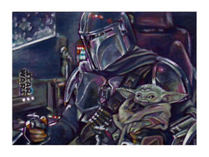Star Wars Holocron Mandalorian Baby Yoda Grogu Artist Proof Sketch Card Painting