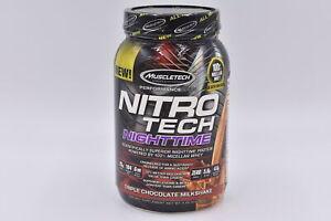 Muscletech Nitro Tech Nighttime Protein Powder, Triple Chocolate 2lb, EXP:12/21