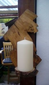 RUSTIC WOOD HANDMADE WALL SCONCE / CANDLE HOLDER.