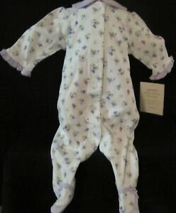 NWT Carter's White Sleeper with Purple Flowers Size 3 Months White Polka Dots