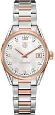 AUTHENTIC TAG HEUER LADIES CARRERA WAR1352.BD0774 DIAMOND ROSE GOLD PEARL WATCH