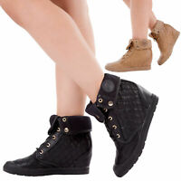 Ladies Womens Black Wedge Hi Top Trainer Ankle Boots Lace Up Strap Shoe Size 3-8