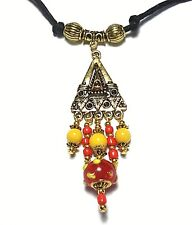 Vintage Style Glass Bead Chandelier Choker Necklace Adjustable Cord Red Yellow