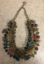 Runway Multi Strand Beaded & Chain Necklace W/ Crystals, Gemstones- Inc Shipping