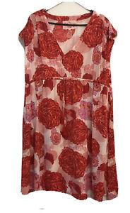 Ruby Yaya Red Floral Peasant Dress Size Xl Suit 16 18 Plus