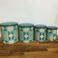 Set of 4  Mid Century Decoware Tin Canisters, Patchwork Design. [a-3]