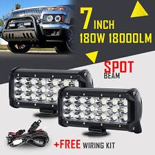 8D TRI ROW 7INCH 180W CREE LED WORK LIGHT BAR SPOT BEAM OFFROAD DRIVING UTE SUV