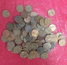 Lot 100 Copper One Cent Lincoln Penny Coins 1951 - 1982 Machine Sorted