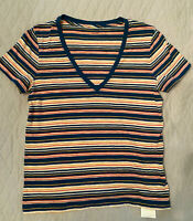 New Madewell S Whisper v neck tee Blue Seascape Frisbee Stripe T Shirt Frisbe