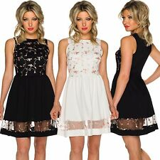 Damen Kleid Abendkleid Cocktailkleid knielang Stickerei Party Abiball Fest 34 36