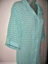 Millers Size 22 Green & White Check Short Sleeve Blouse Top Tab Roll Sleeves