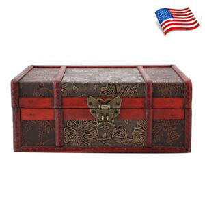 Vintage Carved Wooden Case Treasure Jewelry Floral Antique Box Organizer Decor