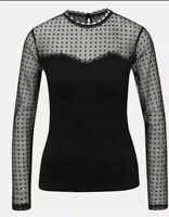 Dorothy Perkins New Women's Top Black Dots Mesh Neck and Long Sleeve Blouse BNWT