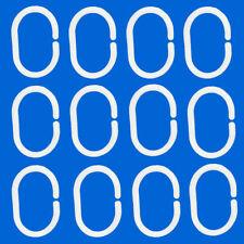 12 PCS White Shower Curtain Rings Shower Hooks Pack Of 12 C Shape