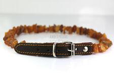 Baltic amber and leather anti-tick anti flea pet Dog/Cat Collar UNPOLISHED