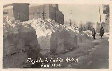 G98/ Crystal Falls Michigan RPPC Postcard c1922 Blizzard School Drifts Snow
