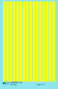 K4 O Decals Yellow 1/4 Inch Stripes Set