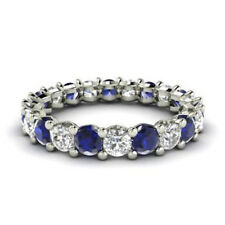 Real Solid 14KT White Gold 2.03 Ct Natural Diamond Blue Sapphire Gemstone Rings