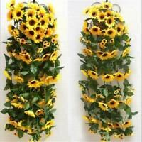 US Artificial Yellow Sunflower Silk Garland Vine Wedding Party Decor Accessories