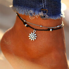 Women Double Layer Anklet Sun Pendent Foot Chain Ankle Bracelet Chic Design New