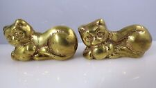 Vintage Solid Brass Cat Kitten Paperweights Set 2 Animal Figurines Holding Ball