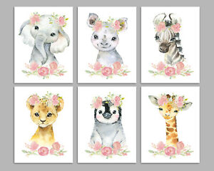 Safari Animals With Flowers - Nursery Print Set Of 3 - Girls Room - Art Pictures