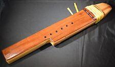 Wooden Flute Native American Style Triple w/ Deer Hide Lacing Carved Key of EEB