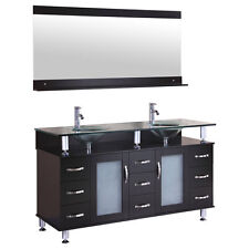 "60"" Espresso Vanity Cabinet LV1-60B with Sink Glass Top and Mirror by LessCare"