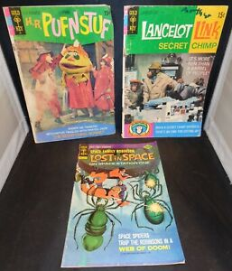 3 1960s Gold Key Comic Books- HR Pufnstuf, Lancelot Link & Lost In Space! Cool!