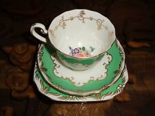 Beautiful Fenton Bone China Trio Cup Saucer Side Plate Floral Green Gold White