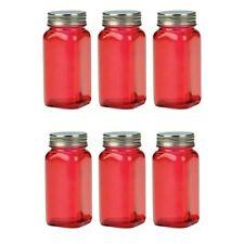 RSVP Retro Spice Jars 6 Set Square Red Glass Storage Kitchen Organization SQR-R