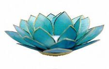 Photophore Lotus en nacre Capiz - Bleu - Porte bougie chakra 5