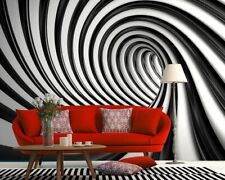 Photo wallpaper for home 100x72in Tunnel abstract Swirl black & white wall mural