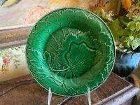 Vintage English Pottery Green Majolica Leaf Design Decorative Plate England
