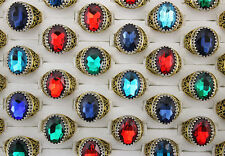 14pcs Colorful Acrylic Gold Plated Vintage Men's rings Jewelry Lots L800
