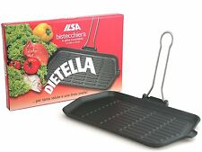 Large Ilsa Dietella Grill Pan Cast Iron 36x23 Cm all type of hobs inc. Induction