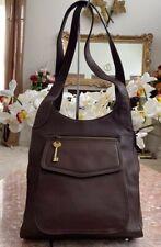 FOSSIL Key X-Large Brown Leather Organizer Cross-body Messenger Bag 75082 EUC!