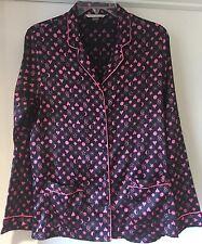 Victoria's Secret Negro y Rosa Con Estampado De Satén Pijama Shirt Top Small
