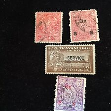 1908-1941 Travancore (Indian State) Postage Stamps, Used Lot of 4