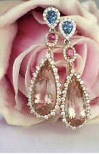 40Ct Pear Morganite Ruby Sapphire Syn Diamond Chandelier Earrings Gold FN Silver