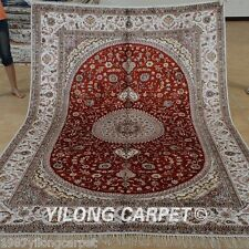 Yilong 6'x9' Oriental Silk Area Rug Hand Knotted Indoor Red Carpet Handmade 1225