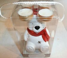 BEAR CHRISTMAS Tea Light Holder w/ Hot Cocoa & Marshmallow Scented Tealights
