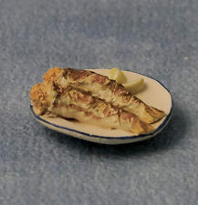 Plate Of Fried Fish, Dolls House Miniatures, 1.12 Scale, Food & Drink