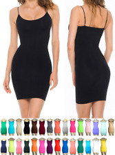 WOMEN CAMI CAMISOLE MINI DRESS SPAGHETTI STRAP SEAMLESS BODYCON TIGHT
